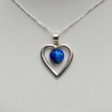 Sterling Silver heart and chain with Azure Blue glass