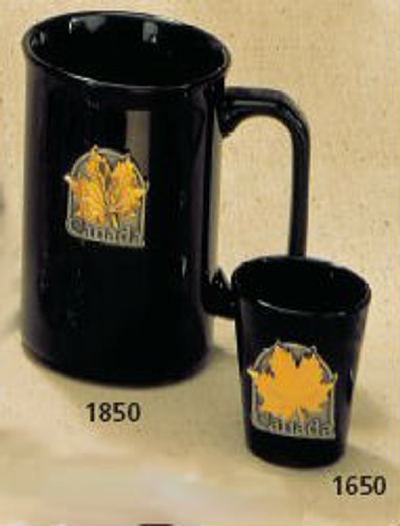 Canada True Canada Mug - Black w/ Pewter & Gold Medallion