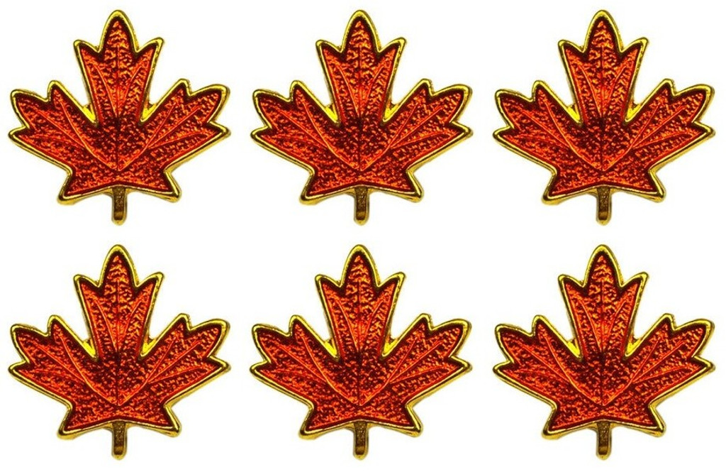 Red Maple Leaf World Class Lapel Pins Assorted (Set Of 6) by Canada True
