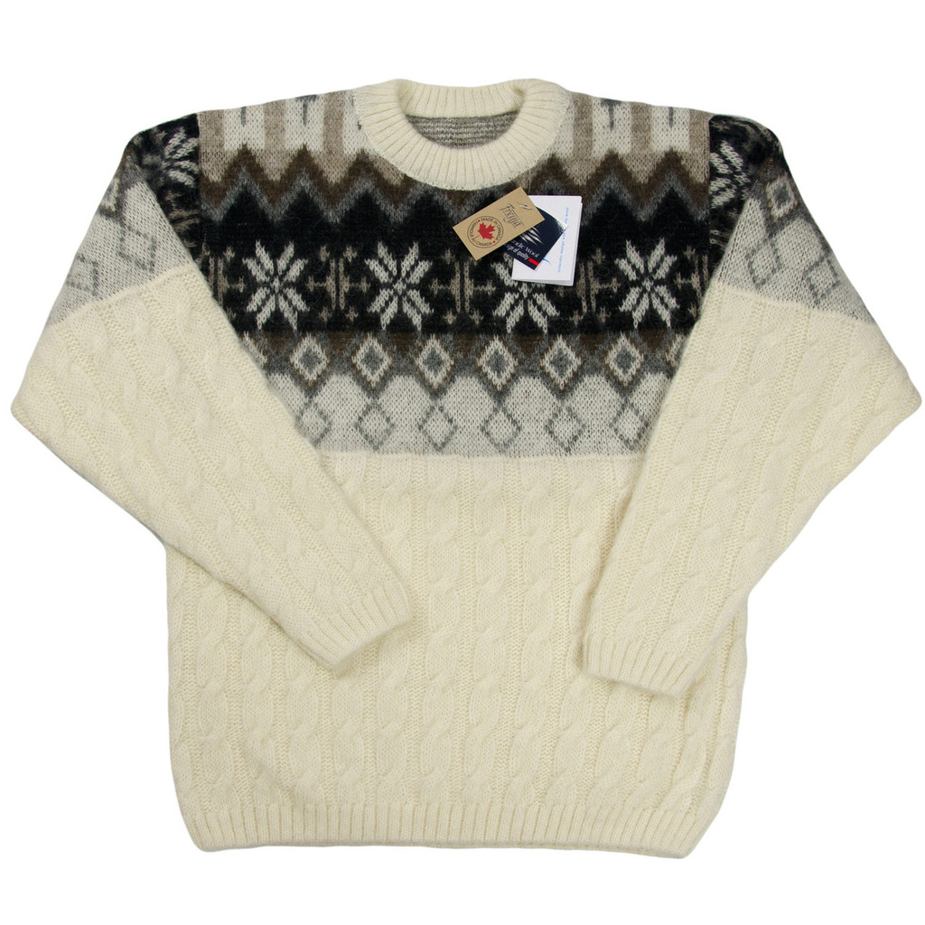 Icelandic Wool Men's Crew Neck Pullover (Off-White / Black) by Freyja