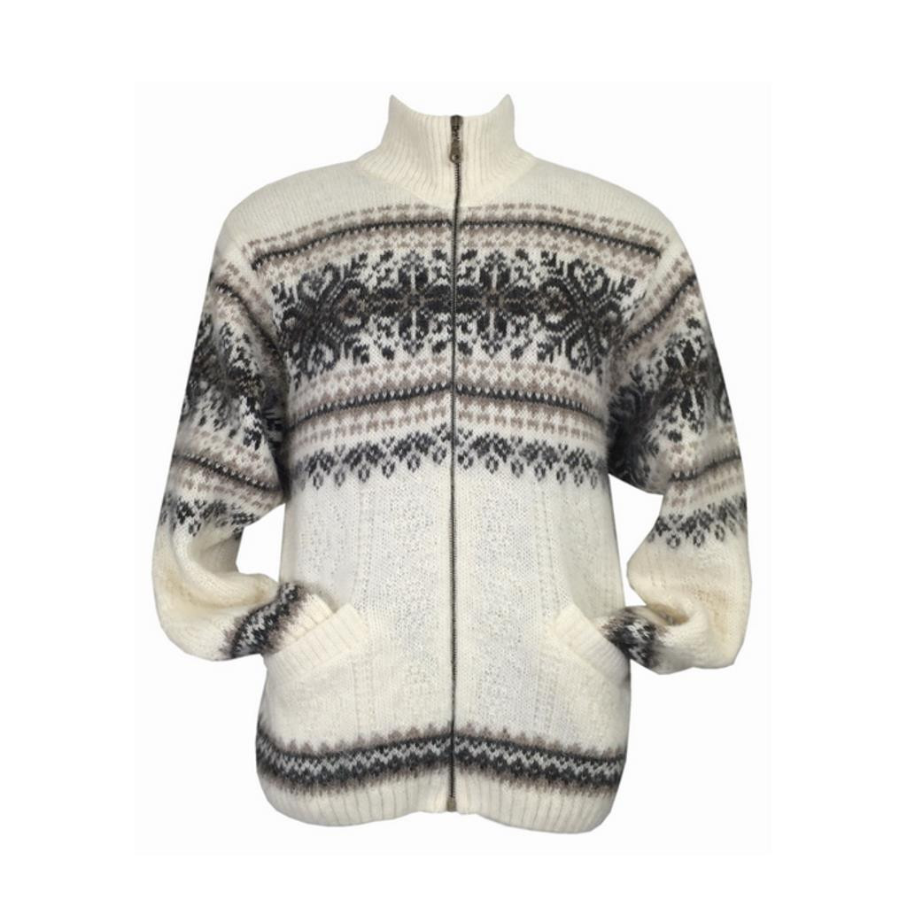 Icelandic Wool Men's Zipper Turtleneck Cardigan (Cream) by Freyja
