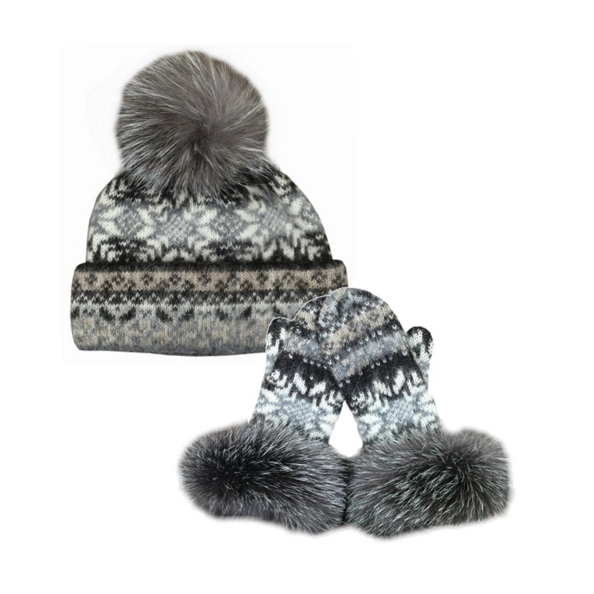006e8989 Icelandic Wool Ladies PomPom Toque / Mitten Set (Oatmeal / Chocolate) by  Freyja