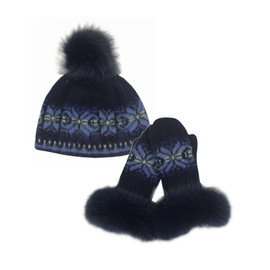 Icelandic Wool Ladies PomPom Toque / Mitten Set (Blue / Purple) by Freyja