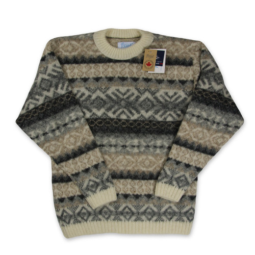 Icelandic Wool Men's Crew Neck Pullover (Taupe / Grey) by Freyja