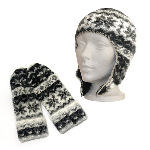 Icelandic Wool Kid's Hat / Mitten Set (Black) by Freyja - Ships in Canada Only