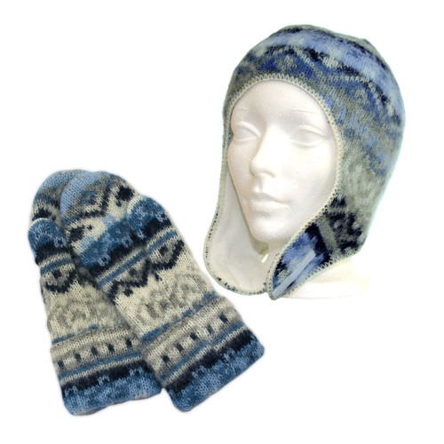 Icelandic Wool Kid's Hat / Mitten Set (Denim) by Freyja - Ships in Canada Only