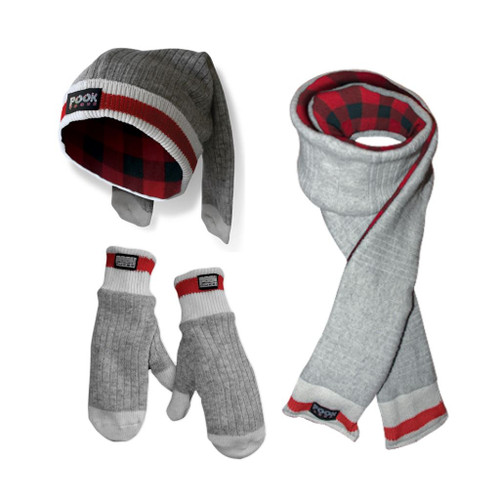 Toque / Scarf / Mitten Set (Red Plaid) Red Plaid by Pook