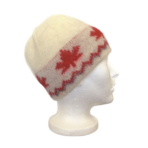 Icelandic Wool Unisex Maple Leaf Cap Toque (Cream / Red) by Freyja