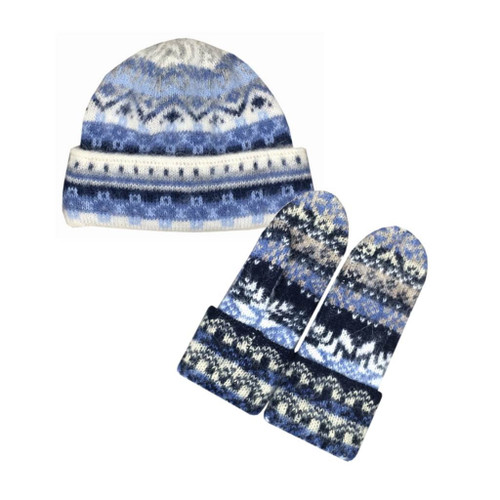 Icelandic Wool Ladies Double-Cuff Hat / Mitten Set (Blue / Grey) by Freyja