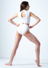 Move Dance Callisto Keyhole Crop Top White back. [White]