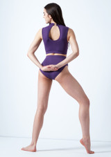 Move Dance Callisto Keyhole Crop Top Purple back. [Purple]