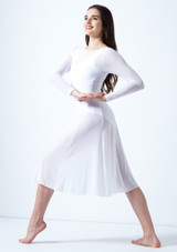 Move Dance Dione Long Sleeve Lyrical Dress White front. [White]
