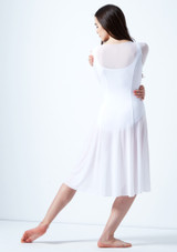 Move Dance Dione Long Sleeve Lyrical Dress White back. [White]