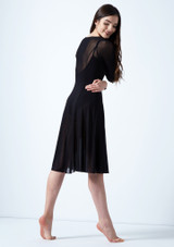 Move Dance Dione Long Sleeve Lyrical Dress Black back. [Black]
