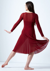 Move Dance Dione Long Sleeve Lyrical Dress Red back. [Red]
