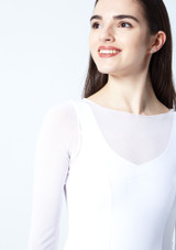 Move Dance Dione Long Sleeve Lyrical Dress White front #2. [White]