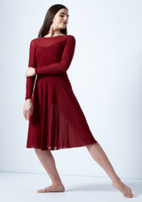 Move Dance Dione Long Sleeve Lyrical Dress Red front. [Red]
