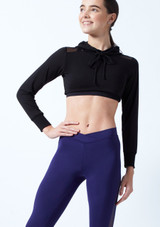 Capezio Teen Cropped Hoodie Black front. [Black]