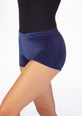 Tappers & Pointers Velvet Gymnastic Shorts Blue front. [Blue]