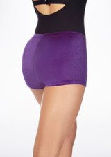 Tappers & Pointers Velvet Gymnastic Shorts Purple back. [Purple]