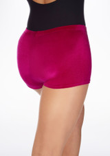 Tappers & Pointers Velvet Gymnastic Shorts Pink back. [Pink]