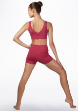 Capezio V Back Dance Crop Top Pink back. [Pink]