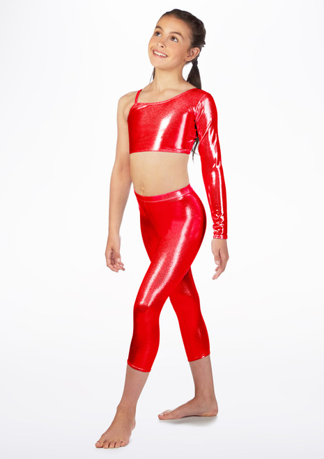 Alegra Girls Metallic Crop Leggings Red front. [Red]