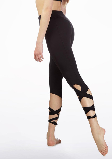 So Danca Tie Ankle Leggings Black side. [Black]