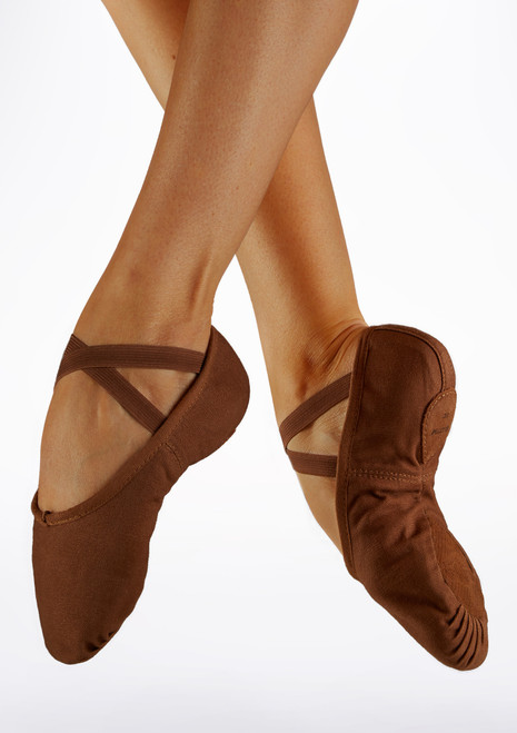 Bloch S0277L Split Sole Canvas Ballet Shoe Cocoa Brown main image. [Brown]