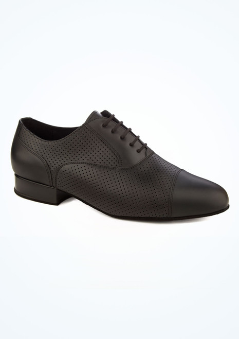 Diamant Mens Perforated Leather Ballroom Shoe Black main image. [Black]