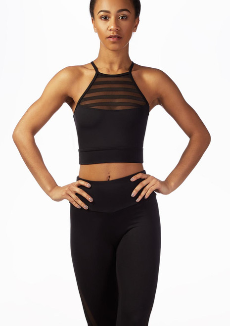 So Danca Striped Mesh Crop Top Black front. [Black]