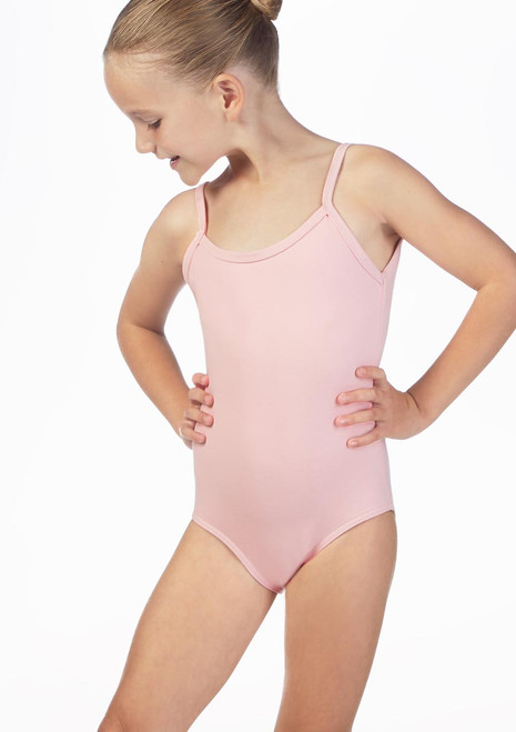 Move Ria Girls Camisole Leotard Pink front. [Pink]