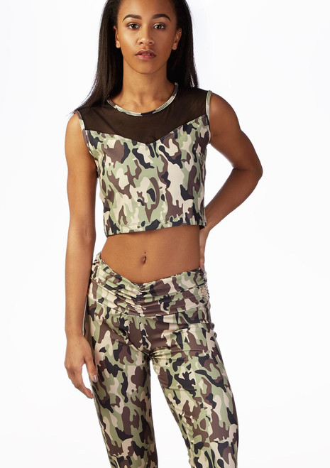 So Danca Camouflage Crop Top Patterned front. [Patterned]