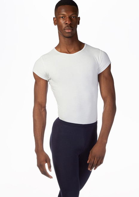 Grishko Mens Short Sleeve Thong Leotard White front. [White]