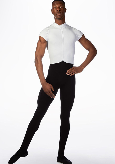 Ballet Rosa Mens Double Toned Short Sleeve Unitard Black-White front. [Black-White]