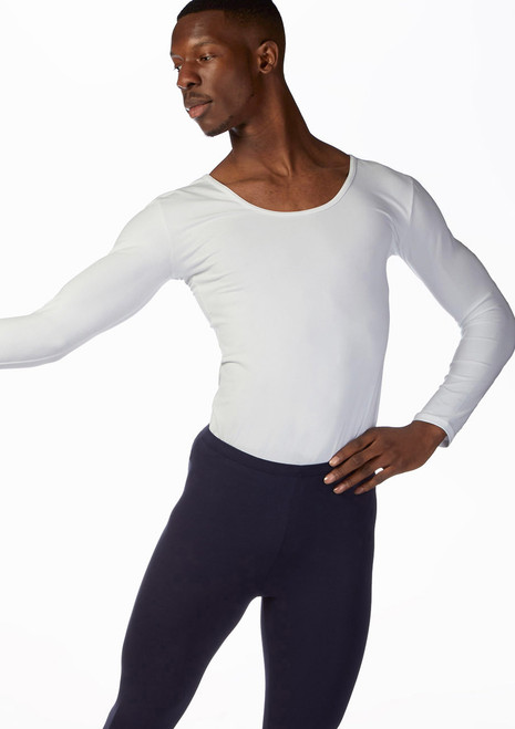 Ballet Rosa Mens Long Sleeve Dance Top Black front. [Black]