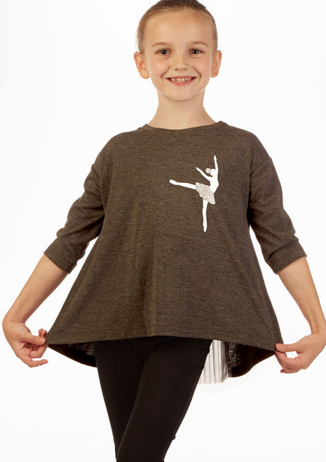 Move Dance  3/4 Sleeve Ballerina Top Grey front. [Grey]