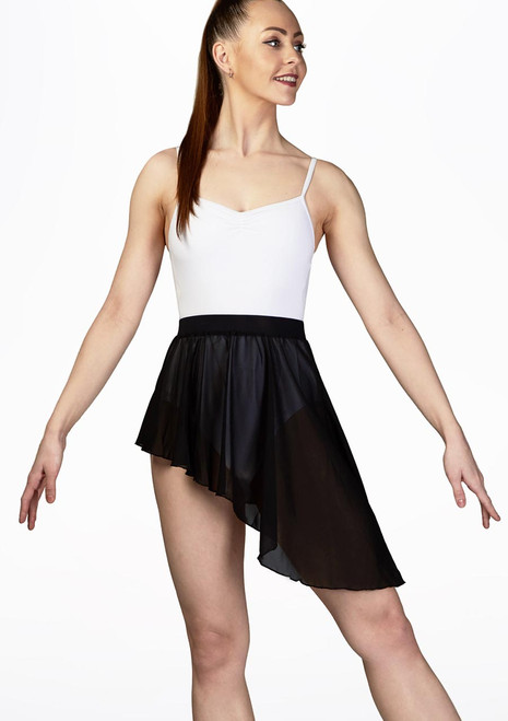 Move Dance Simone Asymmetric Dance Skirt Black front. [Black]
