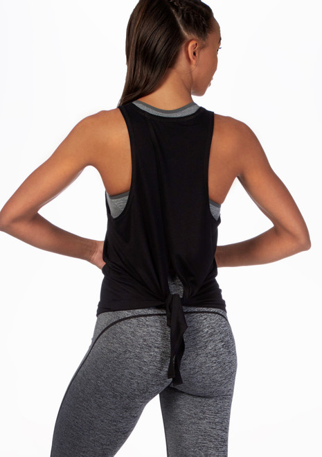 Move Tie Back Dance Top Black front. [Black]