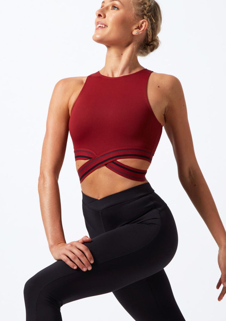Move Dance Infinity Cross Over Crop Top Red front. [Red]