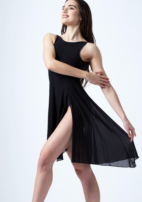 Move Dance Larissa High Split Lyrical Dress Black front. [Black]