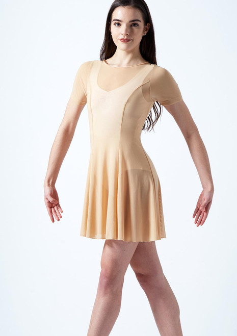 Move Dance Ceres Short Sleeve Lyrical Dress Tan front. [Tan]