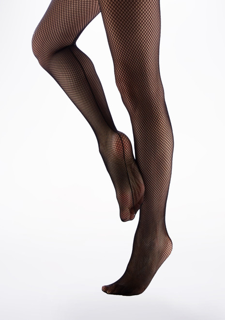 Capezio Girls Studio Basics Fishnet Tights Black side. [Black]