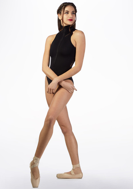Basilica Diamante Zip Leotard Black front. [Black]