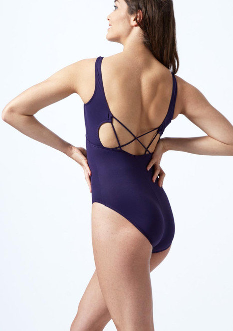 So Danca Cross Back Leotard Blue front. [Blue]