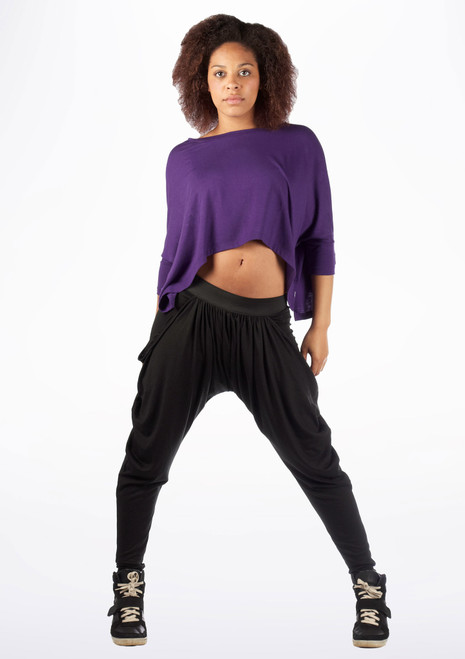 Dincwear Ladies Bat Wing Crop Top Purple. [Purple]