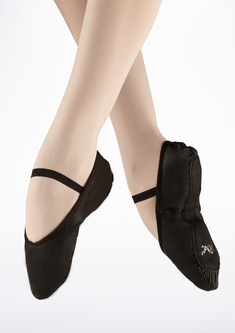 Move Full Sole Leather Ballet Shoe Black. [Black]