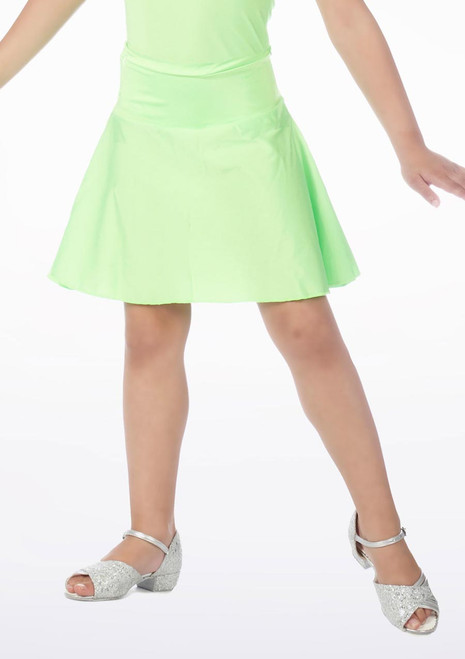 Alegra Shiny Mid Circle Dance Skirt Green. [Green]