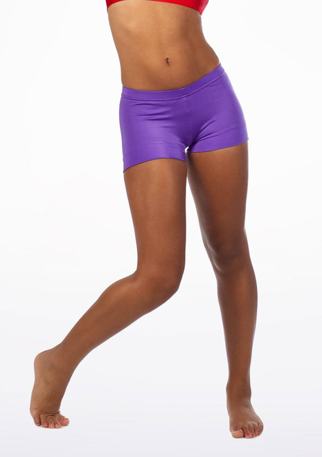 Alegra Girls Shiny Hotpants Purple front. [Purple]