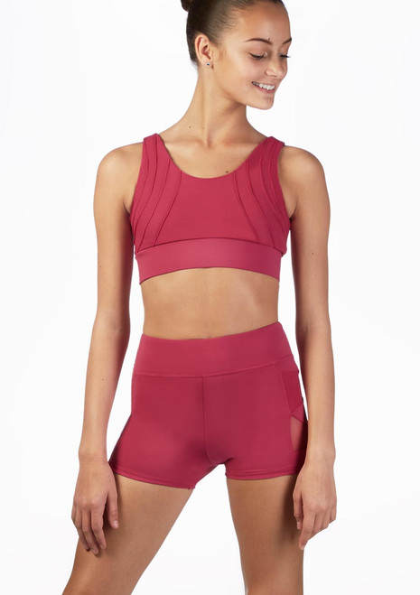 Capezio V Back Dance Crop Top Pink front. [Pink]